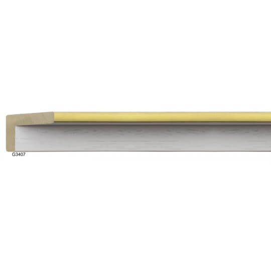 """3/8"""" x 2"""" Open Grain White Floater with Gold"""